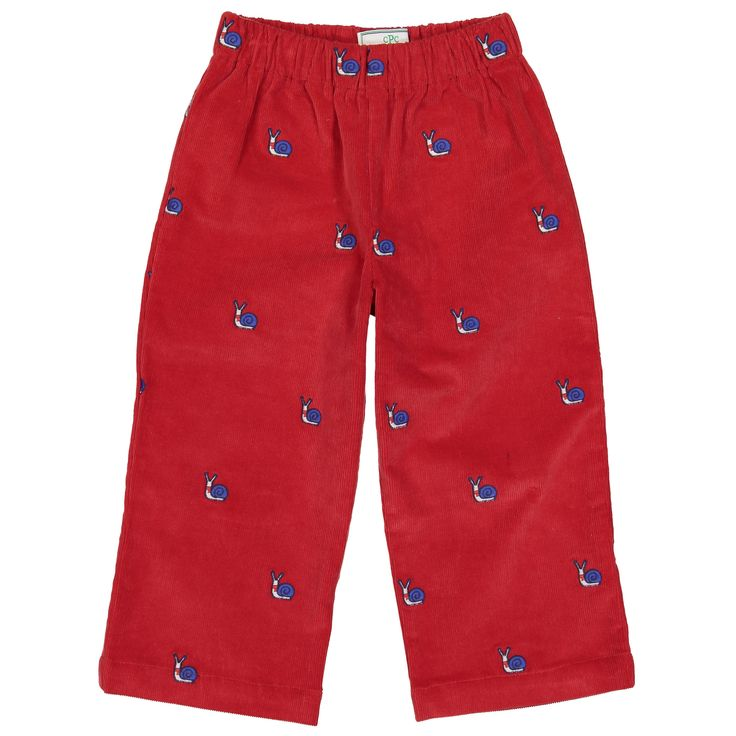 Snail Embroidered Slim Myles Pants