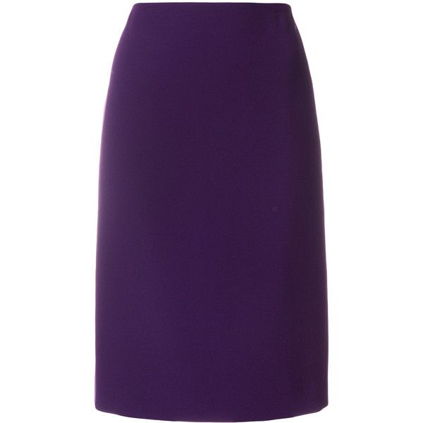 Paule Ka fitted pencil skirt ($316) ❤ liked on Polyvore featuring skirts, purple, pencil skirts, purple pencil skirt, fitted skirts, knee length pencil skirt and fitted pencil skirt