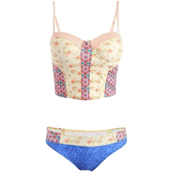Spaghetti Strap Printed Cropped Tank Top and Briefs Tankini For Women ($21) ❤ liked on Polyvore featuring tops, spaghetti strap top, cropped spaghetti strap tank, crop top, white tank and spaghetti strap tank