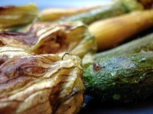 Baked Squash Blossoms Filled with Goat Cheese
