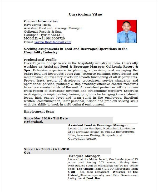 restaurant operation manager resume sample