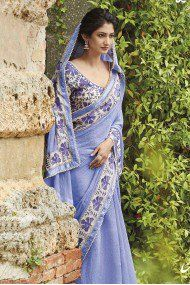 Laxmipati Pure Chiffon Party Wear Designer Saree In Lavender Colour