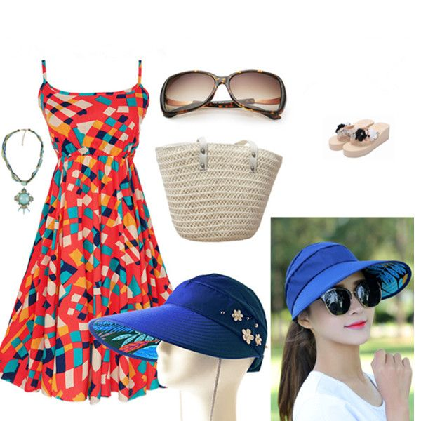 Women Ladies Summer Outdoor Anti-UV Beach Sunscreen Sun Hat Flower Print Caps