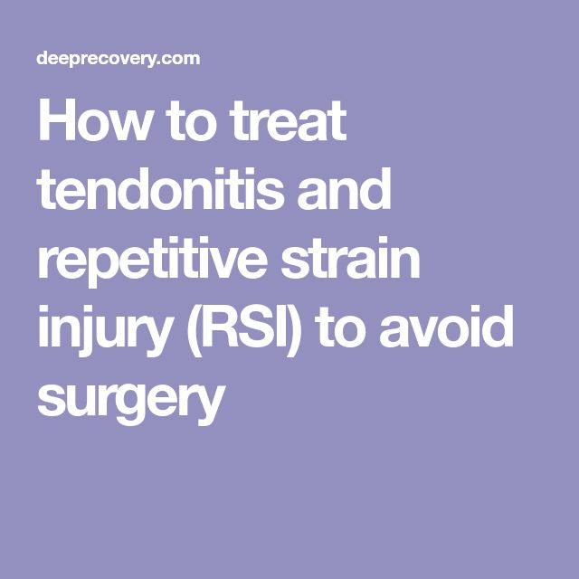 How to treat tendonitis and repetitive strain injury (RSI) to avoid surgery