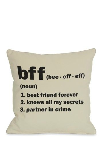 BFF Definition Pillow - Oatmeal/Black - 18in. x 18in. by Love Me, Love me Not Pillows and Art on @HauteLook