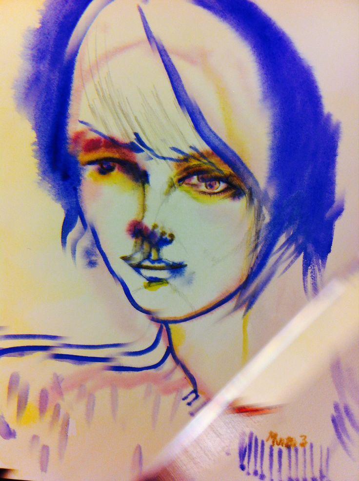 Girl III 2013 #watercolour #photography #fashion #illustration #DeadBirds&Lionheart #portrait #MariaJokela