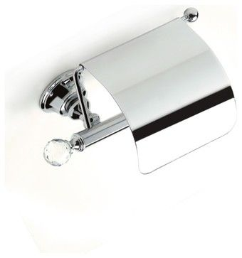 Brass Covered Toilet Roll Holder with Crystal, Chrome contemporary-toilet-paper-holders