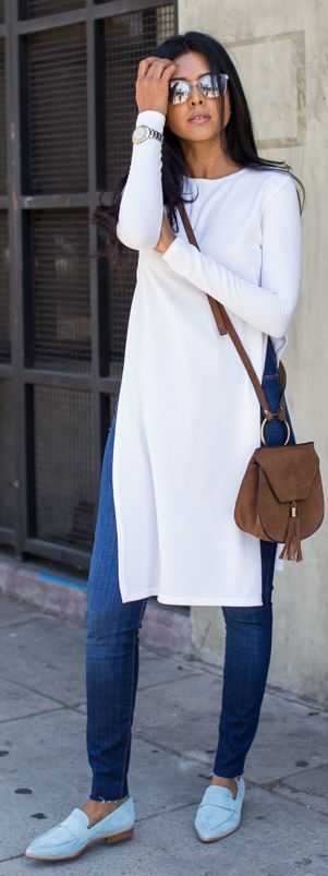 Baby Blue Flats Outfit Idea by Walk In Wanderland // long line white tunic…