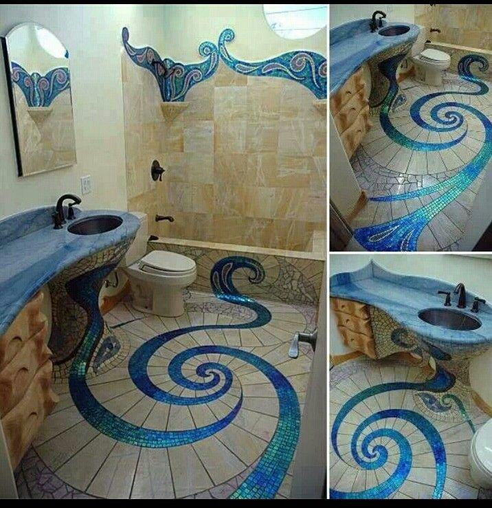 Stylish Mosiac Tiled Washroom