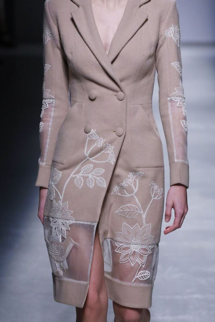Embroidered Coat with sheer panels; see-through fashion details // Rahul Mishra Fall 2015