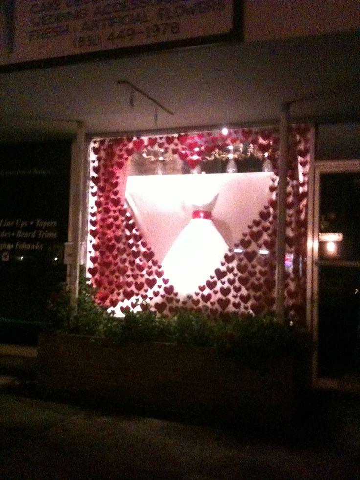 Ema's Bridal Shop in Salinas Ca.  Valentine window display.