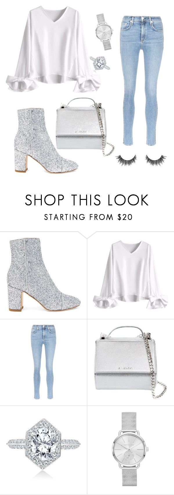 """All about the silvers"" by madeleinelnz ❤ liked on Polyvore featuring Polly Plume, rag & bone/JEAN, Givenchy, Michael Kors, Spring, Silver, jeans and gray"