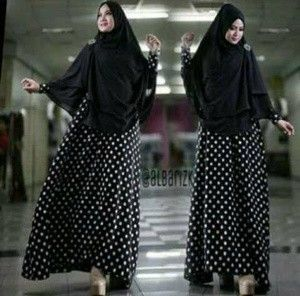 Kode produk Aisyah Polka     Material Dress jersey     resleting depan (Busui)     Panjang dress 125 cm Lingkar dada 90-100 cm     Bergo 2 lapis bahan sifone