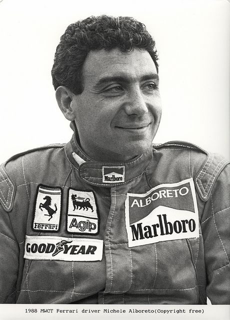 Michele Alboreto, Ferrari. World Championship runner up 1985. In 1995, Alboreto moved on to sportscars and a year later the American IndyCar series. He took his final major victories, the 1997 Le Mans 24 Hours and 2001 Sebring 12 Hours, with German manufacturers Porsche and Audi respectively. In 2001, a month after his Sebring victory, he was killed testing an Audi R8 at the Lausitzring in Germany.