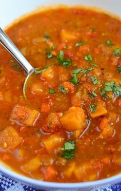 Slimming Eats Spicy Sweet Potato, Red Pepper and Carrot Soup - gluten free, dairy free, vegetarian, Whole30, paleo, Slimming World (SP) and Weight Watchers friendly