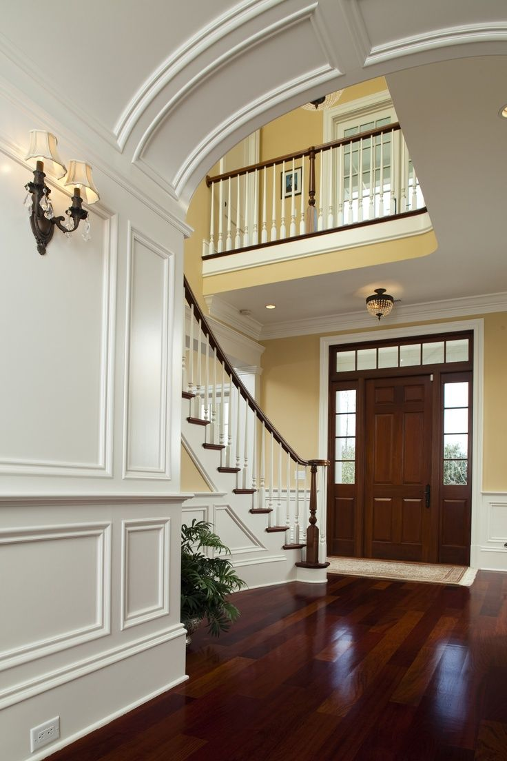 Foyer stairs moulding grand entry pinterest for House plans with stairs in foyer