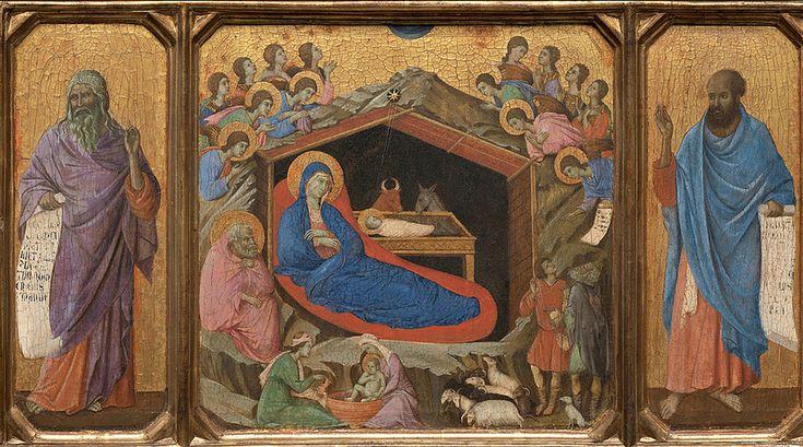 """Дуччо ди Буонинсенья (около 1255—1319).  """"Рождество с пророками Исайей и Иезекилем""""."""