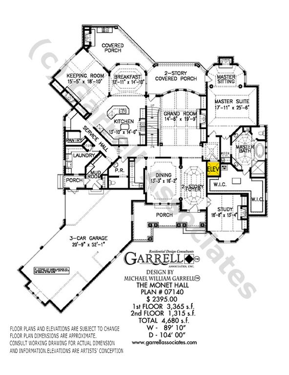 Monet Hall House Plan 06431, Front 1st Floor Plan, Traditional Style House Plans, Master Down House Plans