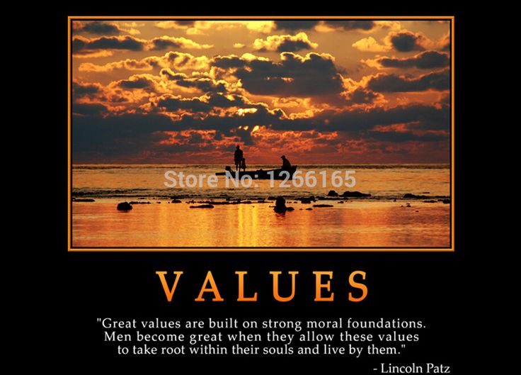 "Motivational inspirational quotes "" VALUES "" print on silk Wall Art Creative Landscape Poster Home Deco Gift A14(China (Mainland))"