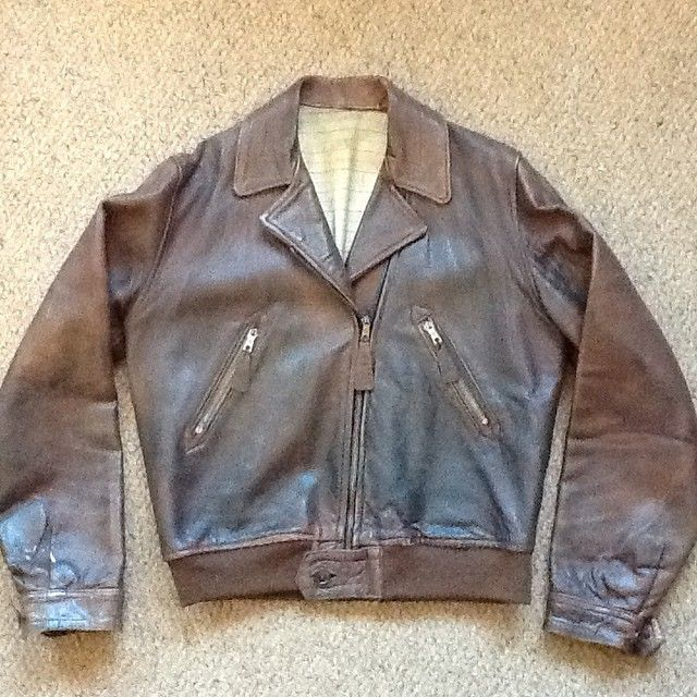1930 S Aviator Jacket British Dot Zips One Piece Back And Unusual Single Panel Sleeves Button Cuffs And Elas Leather Flight Jacket Jackets Aviator Jackets