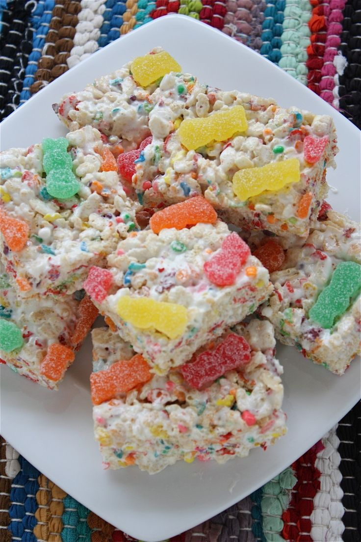 Fruity, candy-filled Rice Krispie treats. My fam got such a kick out of them!