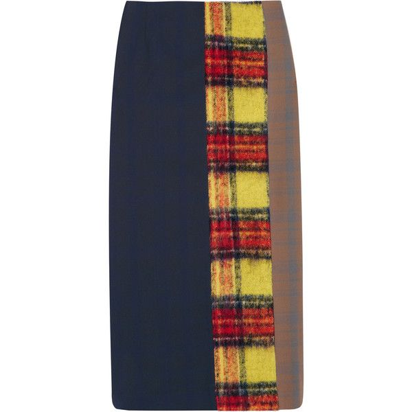 Acne Studios Polina patchwork checked wool-blend pencil skirt (760 AUD) ❤ liked on Polyvore featuring skirts, navy, pencil skirt, panel skirt, navy blue pencil skirt, tartan plaid skirt and plaid pencil skirt