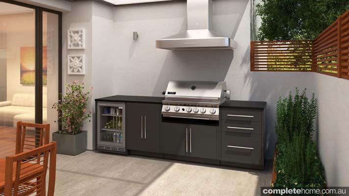 outdoor kitchen design ideas with wine storage bbq and rangehood