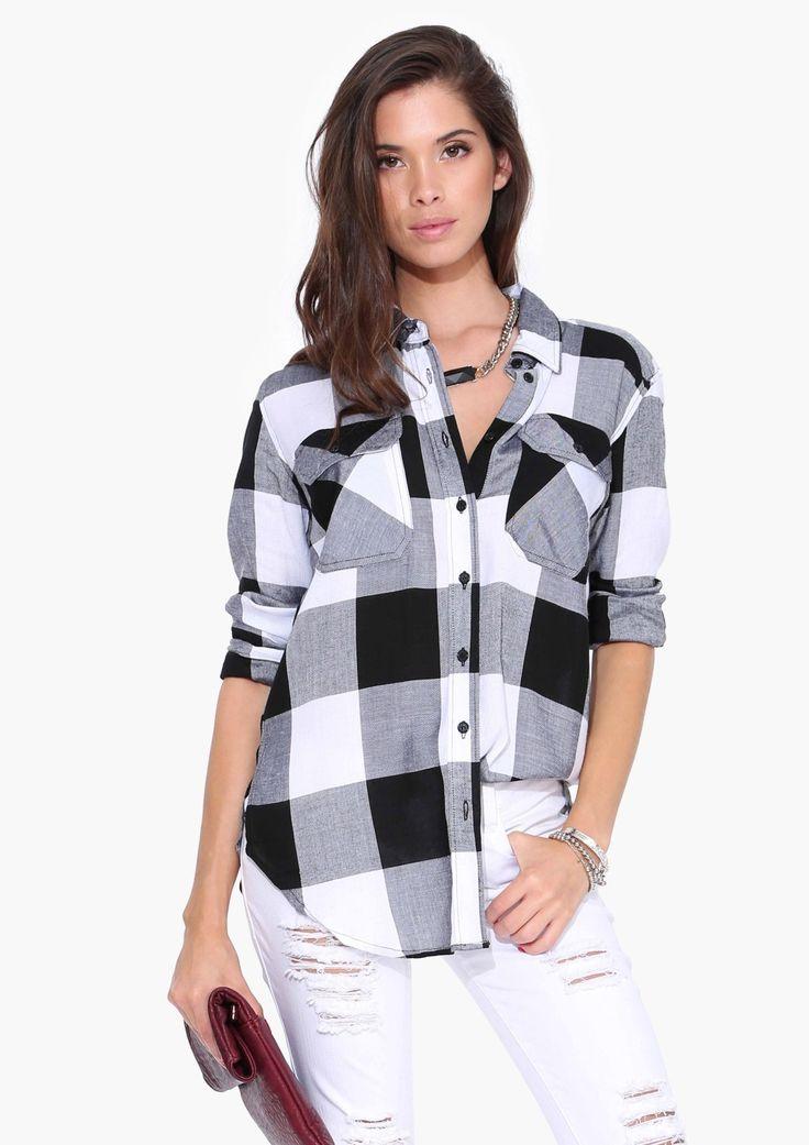 Remi Plaid Buttondown in Black/white