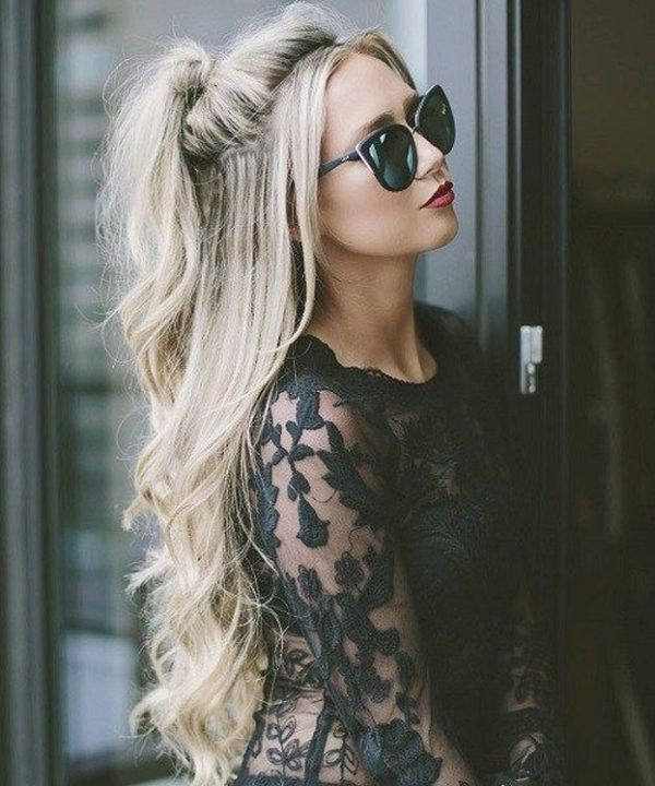 Image result for peinados con pelo suelto with glasses on