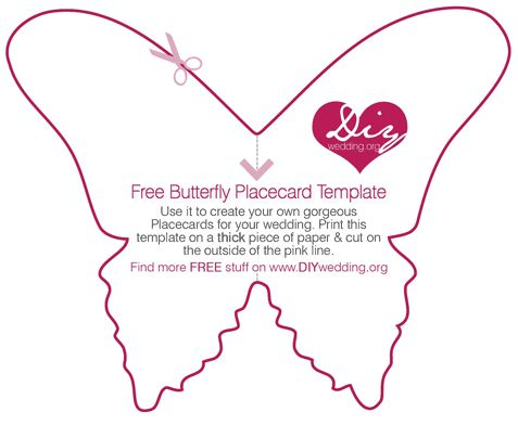 Free diy wedding placecard butterfly template large m for Wall art templates free