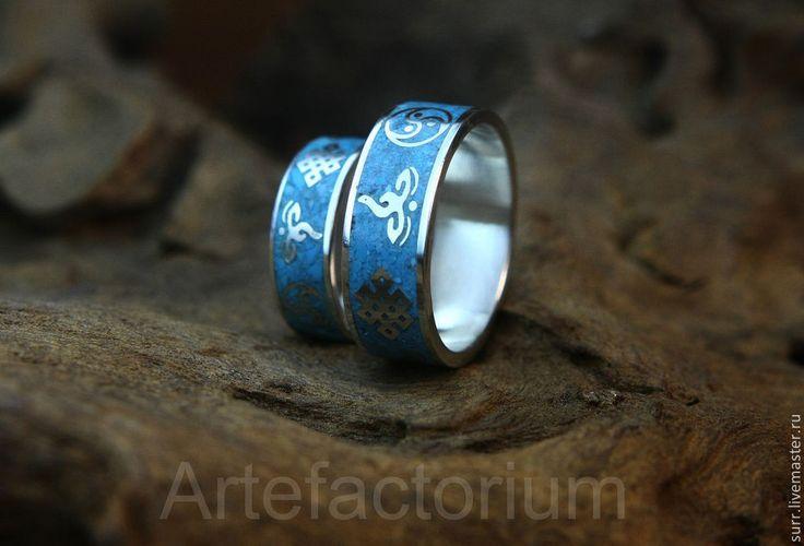 Купить Обручальные кольца с серебром и бирюзой - бирюзовый, серебро, бирюза, обручальные кольца, индивидуальный дизайн