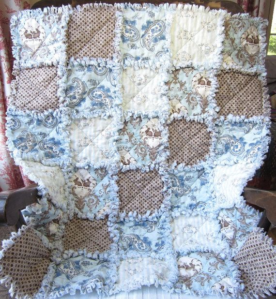 Baby Boy Rag Quilt Blue Brown Baby Quilt Blue Bunny Baby