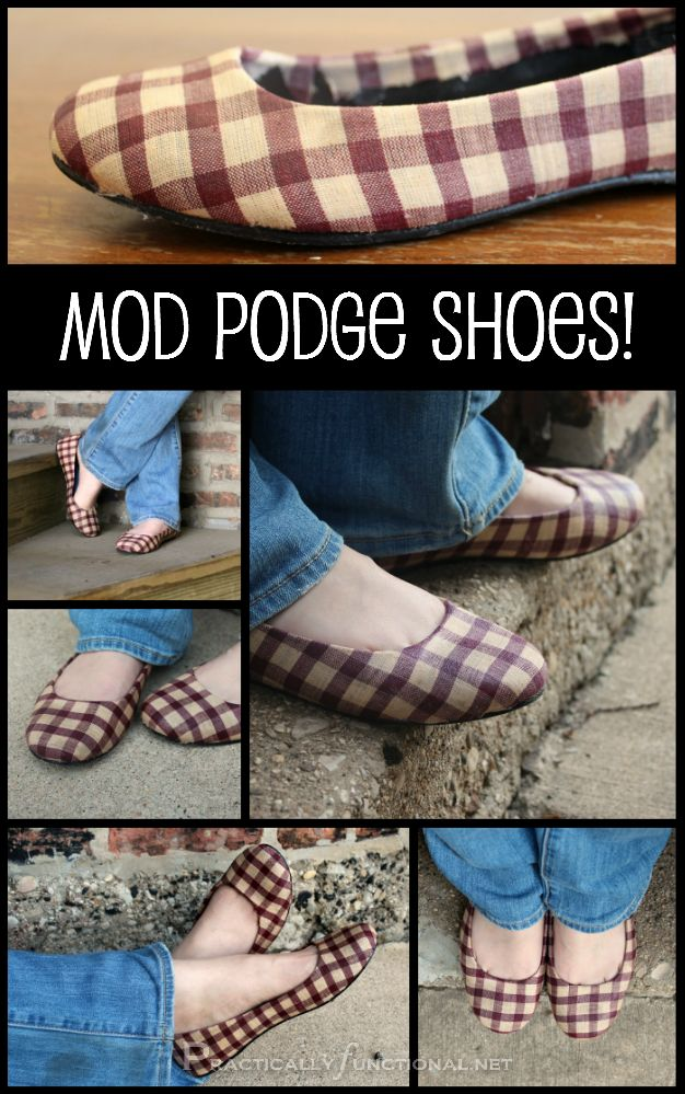 Give new life to an old pair of shoes with fabric and Mod Podge! It's easy to do and takes less than an hour!