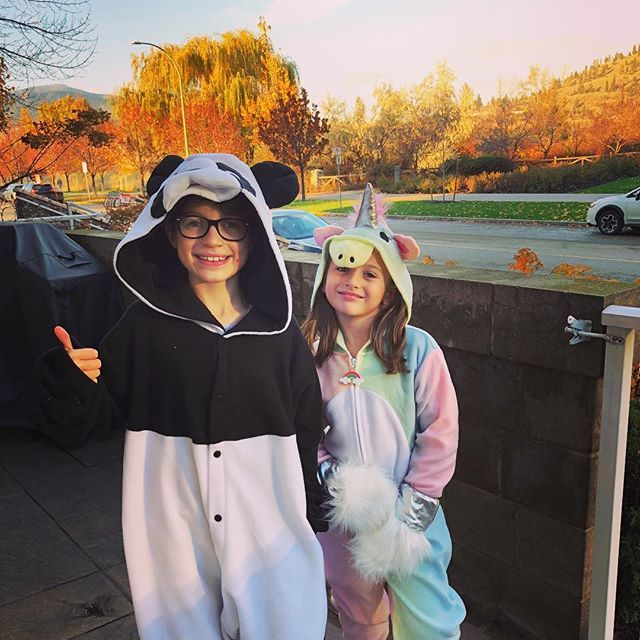 Happy Halloween From This Panda And Unicorn Celebrating Halloween Back In Canada This Year With The Amazing Colours Of Fall Colors Happy Halloween