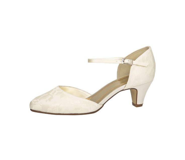 Bruidsschoen met bandje, Trouwschoen lage hak, Wedding shoes mid and low heel, Wedding shoes lace, Kanten trouwschoen, Online webshop levering NL & BE www.sayyestothedress.nl / www. syttd.com