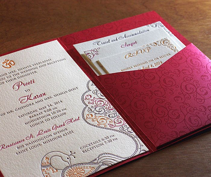 indian wedding ceremony baraat muhurthum invite with printed pocket folder