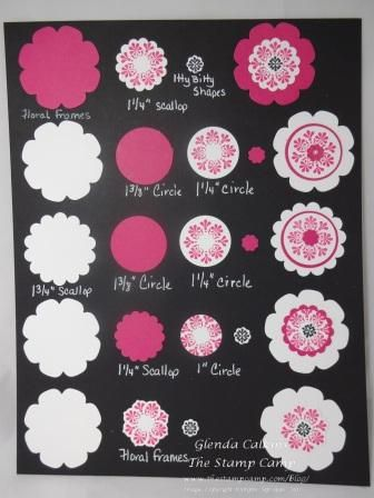 Flower chart using the Madison Avenue stamp set and various punches and the Floral Frames Framelits.