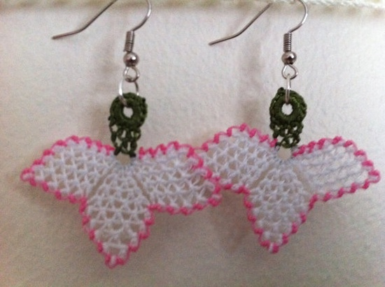 White and Pink Oya Lace Earrings