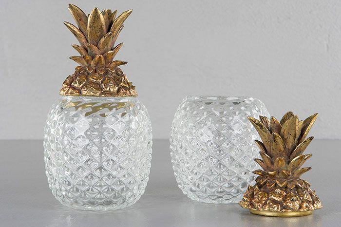 Ananas/glas med lock i guld