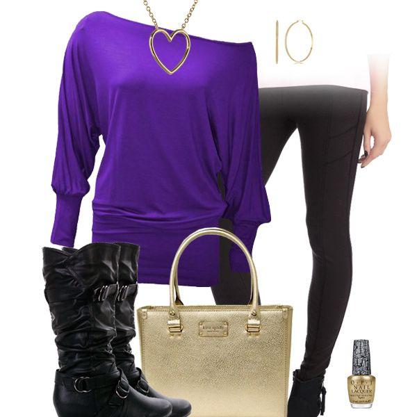 Purple Top, Black Leggings, Gold Bag, Slouchy Boots