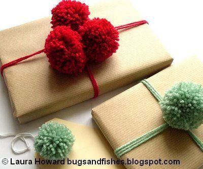 DIY Yarn Crafts: DIY Crafts: Gift Wrap Ideas: Yarn Pompoms