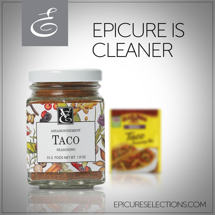 Looking for an easy way to heathify taco night? Epicure's Taco Seasoning contains 90% less sodium of store-bought brands. Plus, it doesn't contain all-too-common hydrogenated oils or maltodextrin. So, get cookin'! #glutenfree