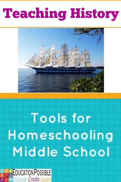 Tools for Homeschooling Middle School: Teaching History. Lots of ideas to make history fun, hands-on and relevant for your kids. @Education Possible