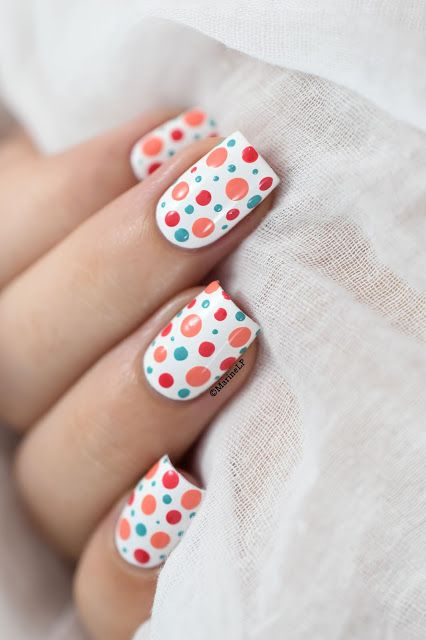 Marine Loves Polish: Colorful polka dots nail art [VIDEO TUTORIAL] - Dotticure                                                                                                                                                                                 Plus