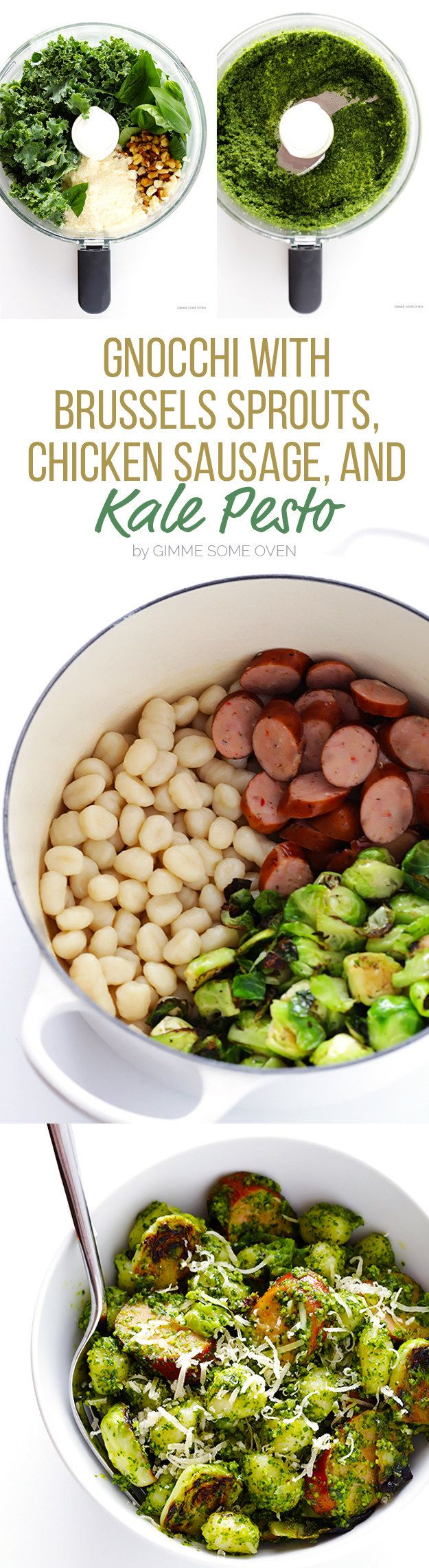 Gnocchi with Brussels Sprouts, Chicken Sausage, and Kale Pesto | Here Are 7 Fall Dinners To Make This Week
