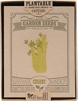 Plantable Vegetable Notecards - these amazing seeded note cards are plantable! Designed to lok like vintage seed packs, they feature an assortment of vegetables like celery, peppers, onions, lettuce, carrots, and tomatoes. Just plant, water and veggies will sprout in 10-14 days! 100% handmade in the USA. $24.95