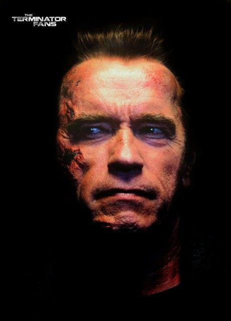 Terminator Genisys Schwarzenegger T-800 Battle Damage Make-Up Test  http://www.theterminatorfans.com/terminator-genisys-schwarzenegger-t-800-battle-damage-make-up-test/