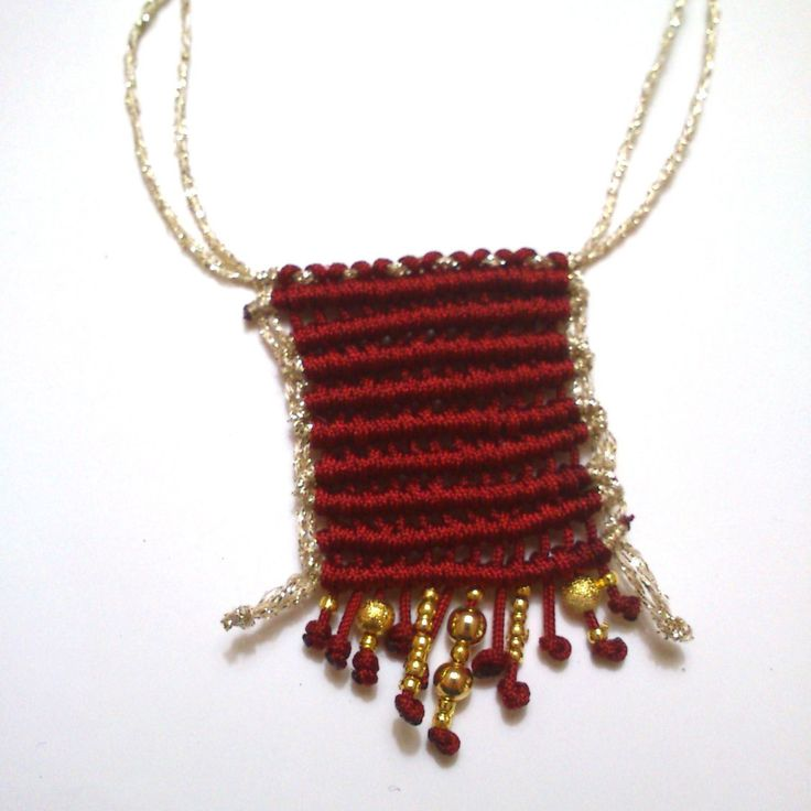 beautiful macrame necklace with gold beads by KleopatrasCreations on Etsy