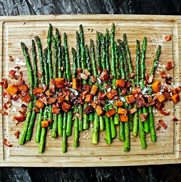 Roasted Asparagus and Sweet Potatoes with Homemade Bacon Bits, and Shaved Parmesan | A Bachelor and His Grill