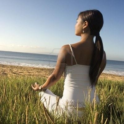 meditating near the ocean